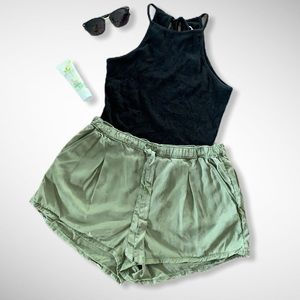 Aerie Tie Up Loose Army Green Paper Bag Shorts